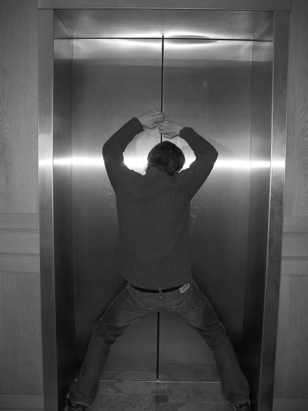 Trapped in a lift.